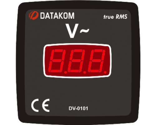 Вольтметр 1-фазный 72х72 Datakom DV-0101