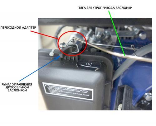 Адаптированный привод заслонки виде рычаг для автозапуска генератора